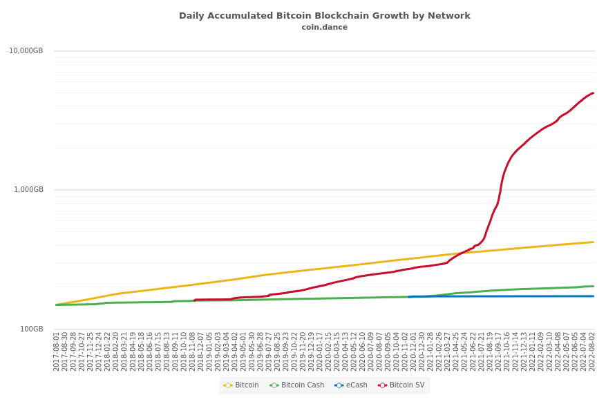 Daily Accumulated Bitcoin Blockchain Growth by Network
