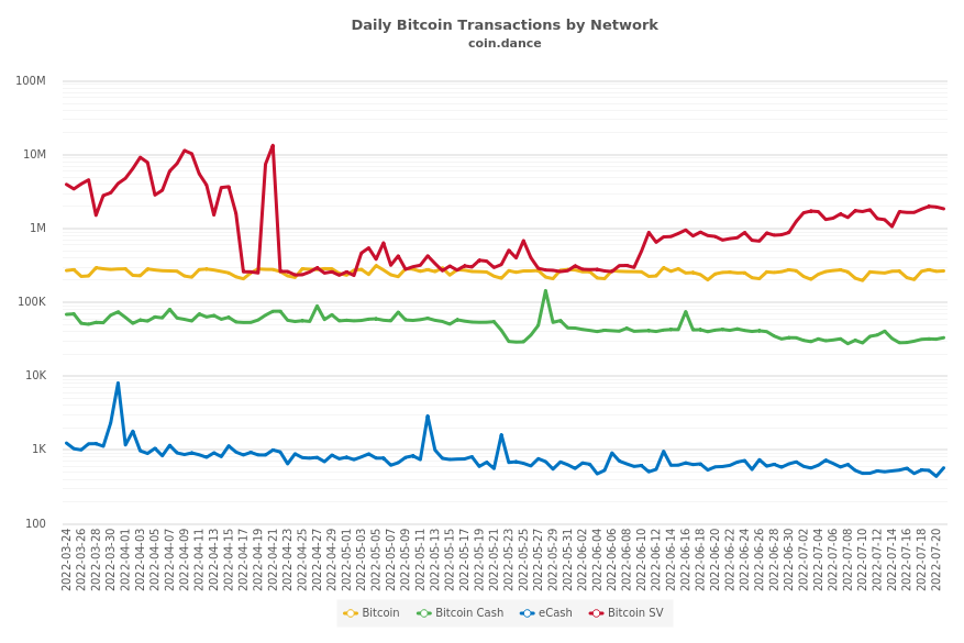 Daily Average Bitcoin Transactions Per Block by Network